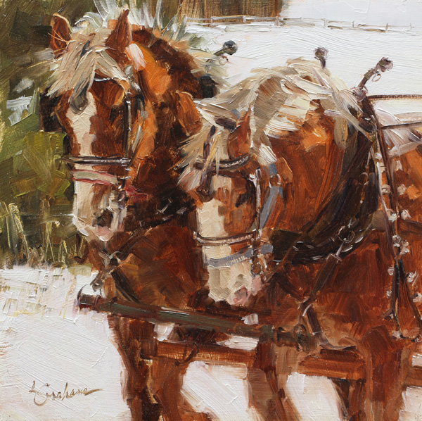 Lindsey Bittner Graham, Working Mares, oil, 8 x 8.