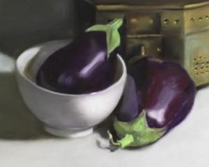 Pamela Poll, Eggplant Duo, pastel, 10 x 8.