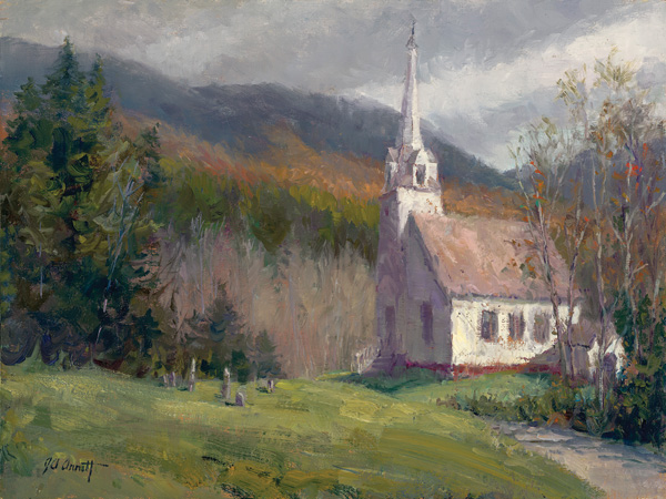 Joe Anna Arnett, Sunderland Union Church, VT, oil, 12 x 16.