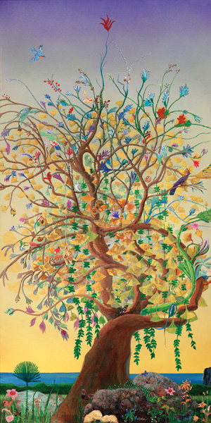 Hugh Baker, Ginkgo Tree (Hybrid), watercolor/acrylic, 8 x 4 feet.