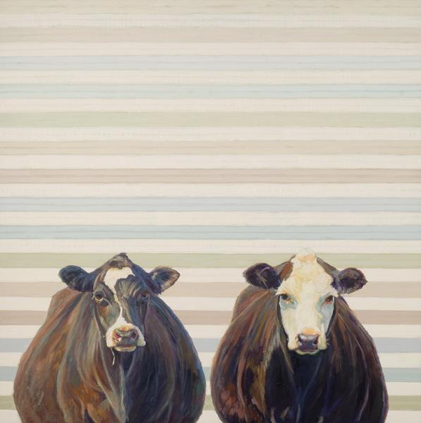Nancy Bass, Zoe and Ella, oil, 30 x 30.