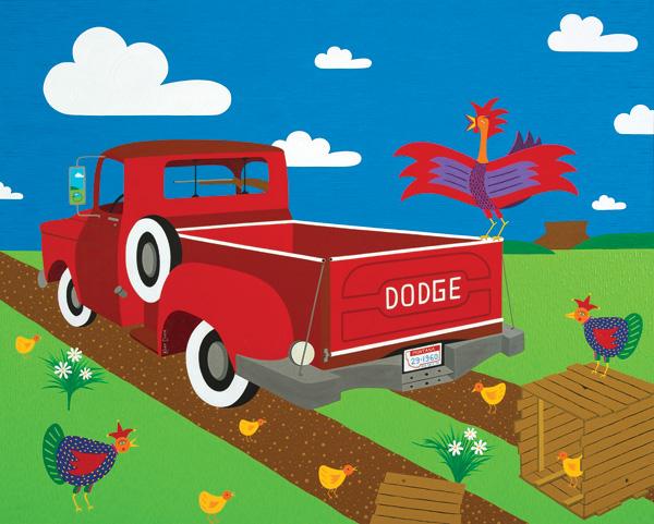 Kort Duce, Free Range Chicken, acrylic, 48 x 60.