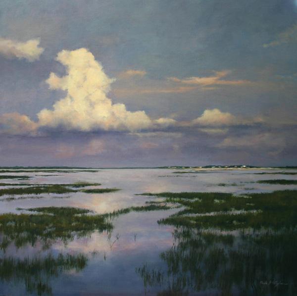 Paula Holtzclaw, Thunderhead, oil, 30 x 30.