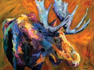 Linda Israel, Autumn Moose, acrylic, 36 x 48.