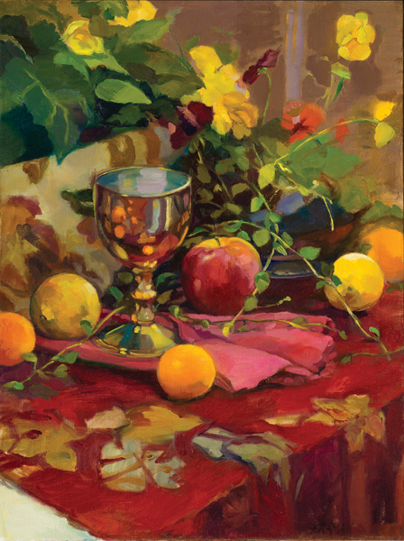 Tricia Kaman, The Blessing Cup, oil, 24 x 18.