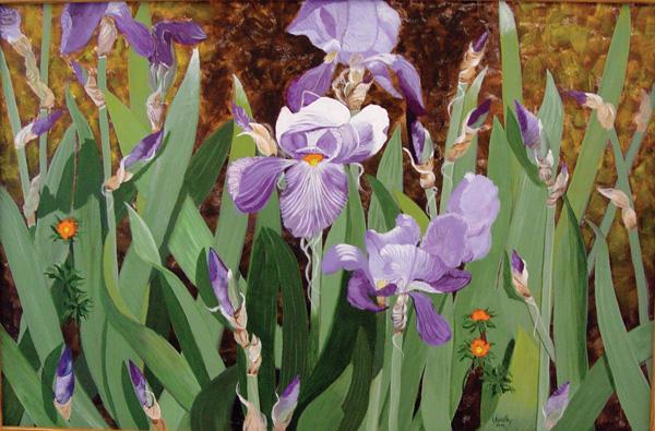 Yvonne Korotky, Iris, acrylic, 23 x 36.
