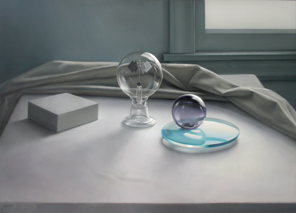 Elaine Kurie, Still Life With Lavender Float, oil, 30 x 40.