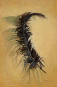 Laurie Schwartz, Feather, oil, 36 x 18.