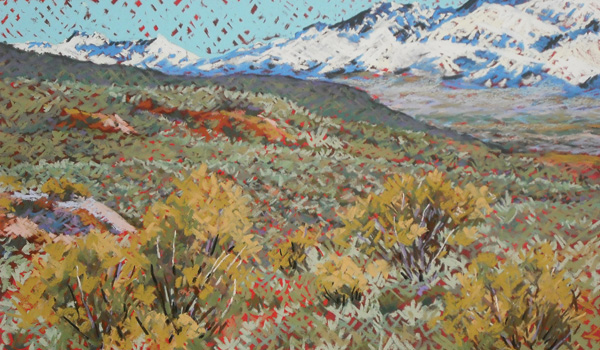 Sidne Teske, Out the North Road, pastel, 12 x 20.