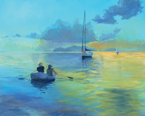 Keith Wilkie, Cooper Island Sunset, acrylic, 24 x 30.