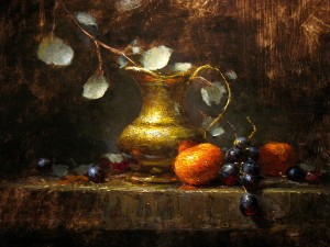 Carla Anglada, Clementines with Grapes, oil, 16 x 12.
