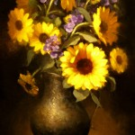 Carla Anglada, Sunflowers in Pewter, oil, 18 x 14.