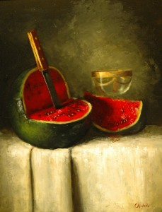 Carla Anglada, Vino de Melon, oil, 20 x 16.