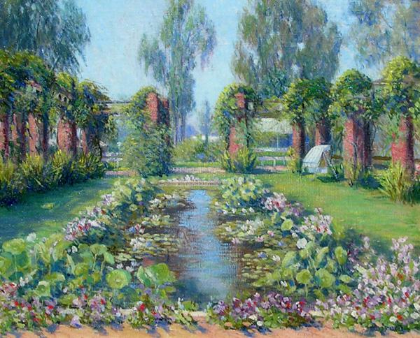 Harold Streator, A California Garden in Santa Barbara (El Encanto Hotel), oil, 24 x 29, George Stern Fine Arts.