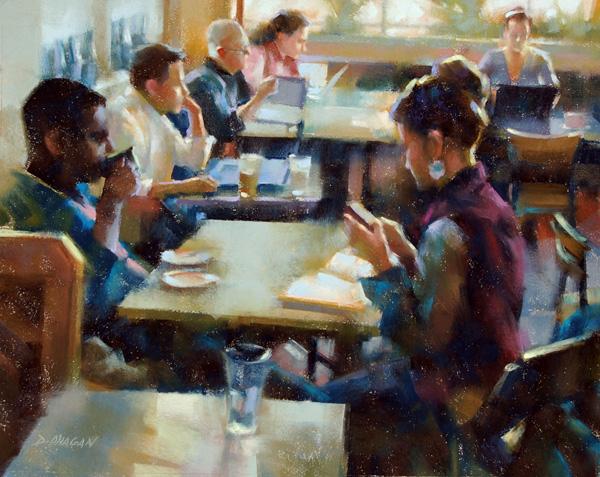 Desmond O'Hagan, Midday Coffee, St. Marks, pastel, 16 x 20.