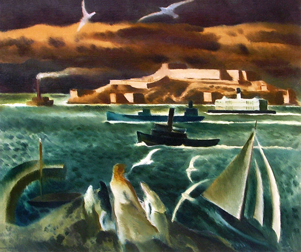 Millard Sheets, San Francisco Bay, oil, 30 x 36, George Stern Fine Arts.