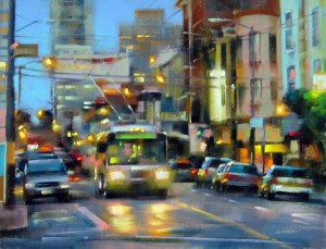 Desmond O'Hagan, North Beach, San Francisco, pastel, 18 x 24.