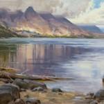 Mitch Baird, Reflective Jenny Lake, oil, 24 x 36.