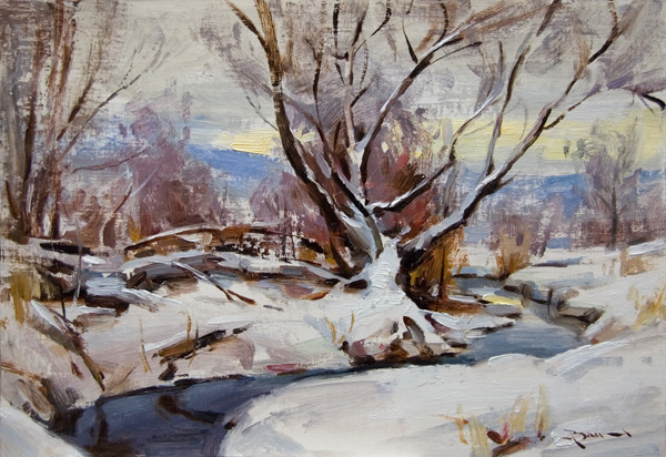 Mitch Baird, Winter Light, oil, 10 x 14.