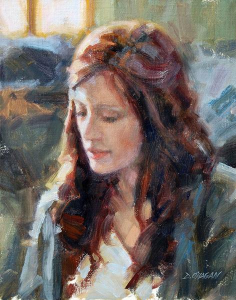 Desmond O'Hagan, Young Woman, oil, 11 x 14.