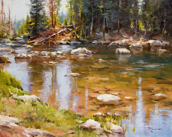 Mitch Baird, Beartooth River, oil, 24 x 30.