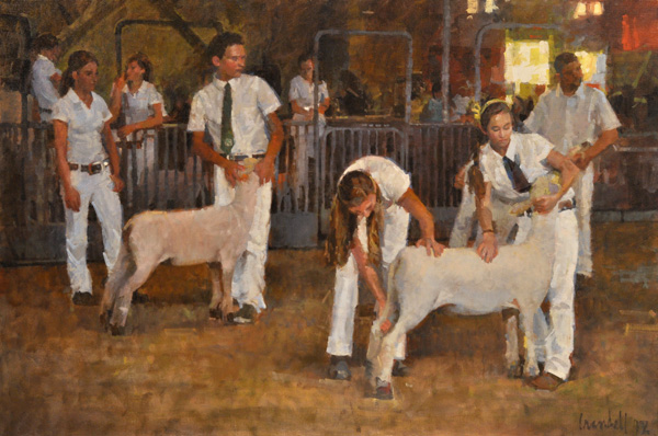James Crandall, Showing Sheep, oil, 24 x 36.