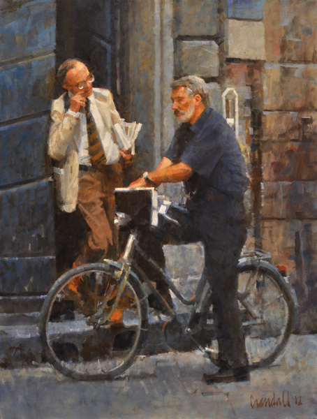 James Crandall, Two Professors, oil, 24 x 18.