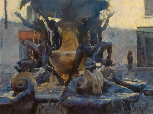 James Crandall, Fountain of the Turtles, No. 1 (Roma), oil, 18 x 24.