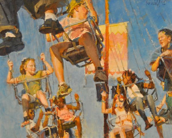 James Crandall, Swing Carousel Riders, oil, 24 x 30.