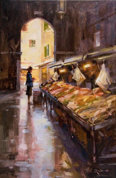 Mitch Baird, Fish Market Patron, oil, 24 x 16.