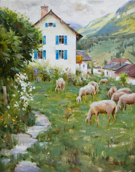Mitch Baird, Garden Graziers, Alps, oil, 30 x 24.
