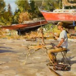 Mitch Baird, Sketching in the Boatyard, oil, 20 x 30.