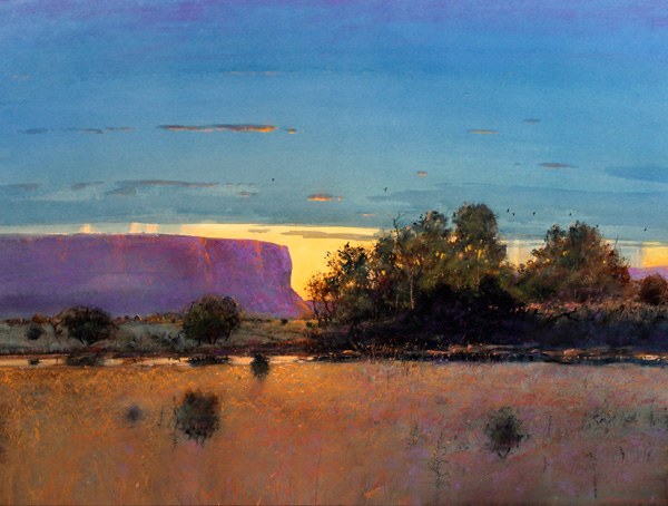 Tom Perkinson, August Sunset, watercolor/mixed media, 29 x 39.