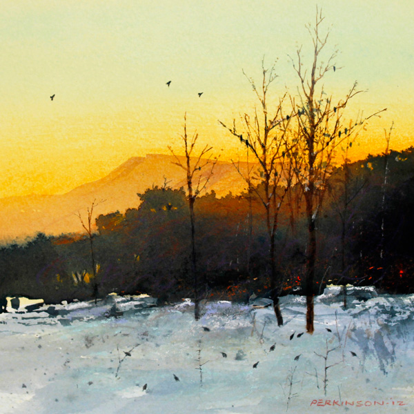 Tom Perkinson, Dark-Eyed Juncos at Twilight, watercolor/mixed media, 7 x 7.