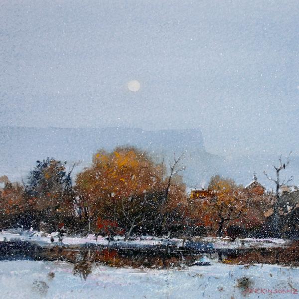 Tom Perkinson, December Moon, New Mexico, watercolor/mixed media, 10 x 10.