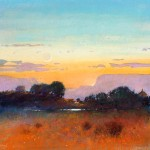 Tom Perkinson, Mesa at Dusk, watercolor/mixed media, 16 x 16.
