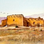 Tom Perkinson, Summer, Northern New Mexico, watercolor/mixed media, 5 x 10.