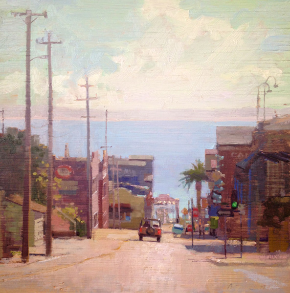 Aimee Erickson, Down to Cannery Row, oil, 16 x 16.