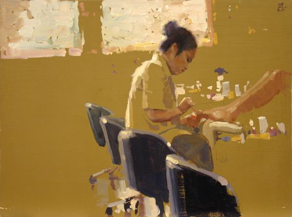 Aimee Erickson, Pedicure, oil, 9 x 12.