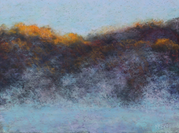 Dick McEvoy, Taunton Lake Fog & Mist #3, pastel, 18 x 24.
