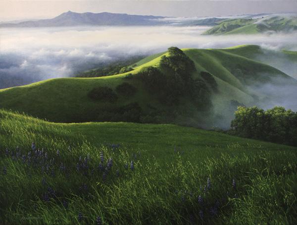Adair Payne, Fog Lifting, oil, 30 x 40.