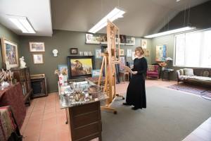Susan Lyon at her art studio in Quaker Gap, NC