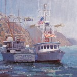 Debra Huse, Avalon Watermen, oil, 10 x 12.