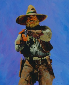 Dan Bodelson, Blue Shooter, acrylic, 44 x 36.