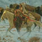 Dan Bodelson, Buffalo Hunter, oil, 30 x 40.