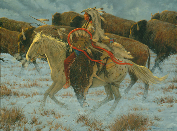 Dan Bodelson, Buffalo Hunter, oil, 30 x 40.