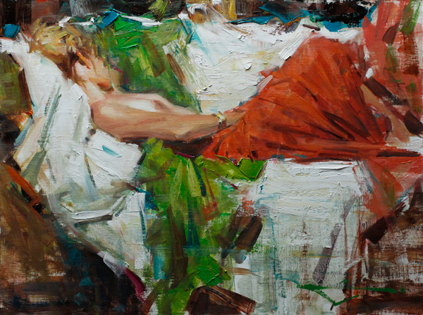 Kevin Beilfuss, Alex Lounging, oil, 12 x 16.