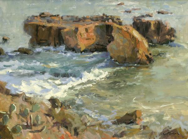 Brent Jensen, Laguna Rocks, oil, 18 x 24.