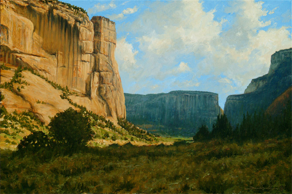 Dan Bodelson, Canyon Cliffs, oil, 20 x 30.
