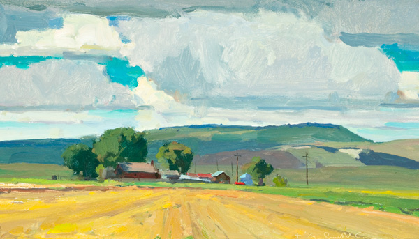 G. Russell Case, Rain and Grain, oil, 8 x 14.